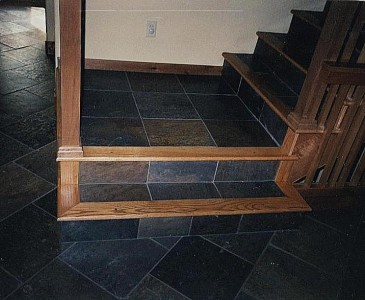Slate on Wooden Stairs