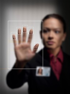 Young Lady Scanning Her Fingerprints