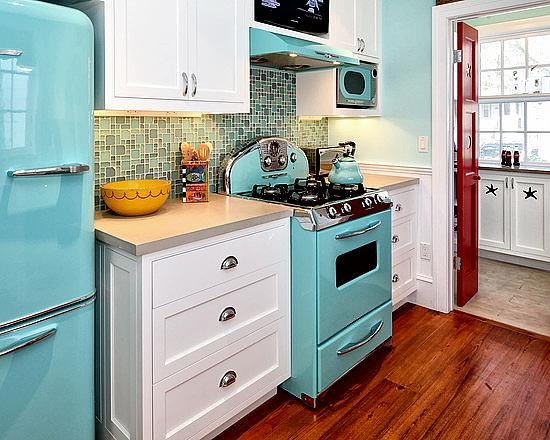eclectic kitchen with retro appliances and beautiful pine floor