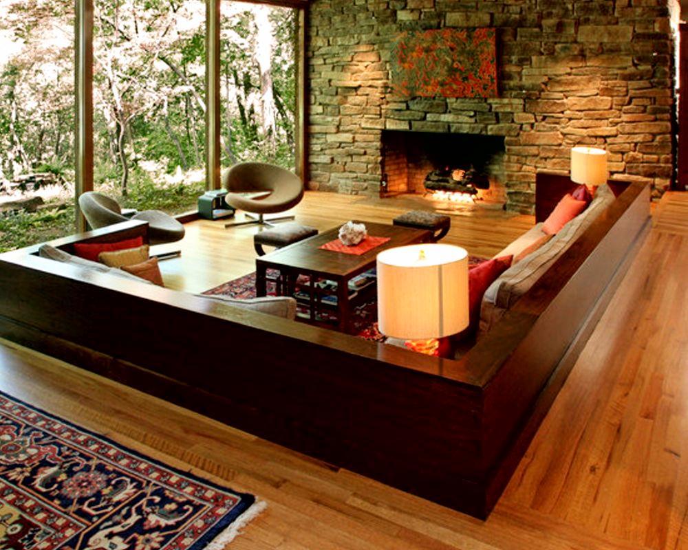 Living room interior design and the natural stone how to for Room design natural